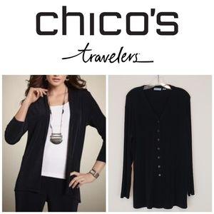 Chico's Traveler's Black Cardigan Tunic Button Up